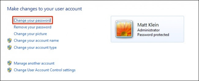 đổi mật khẩu win 7